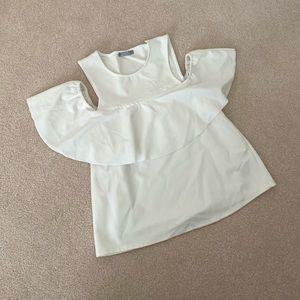 Zara Off the Shoulder White Top S